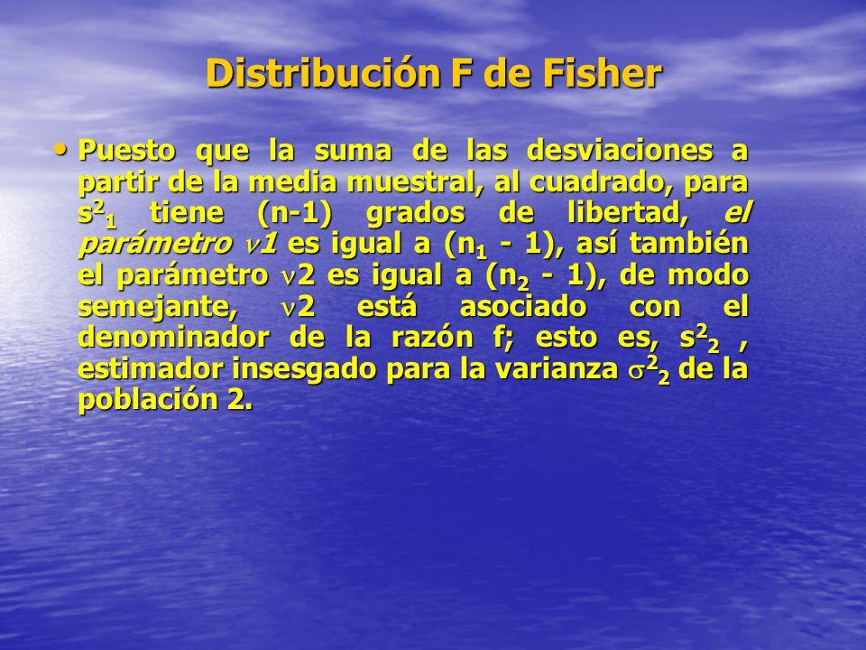Distribución F de Fisher Puesto que la suma de las desviaciones a partir de la media muestral, al cuadrado, para s 2 1 tiene (n-1) grados de libertad,