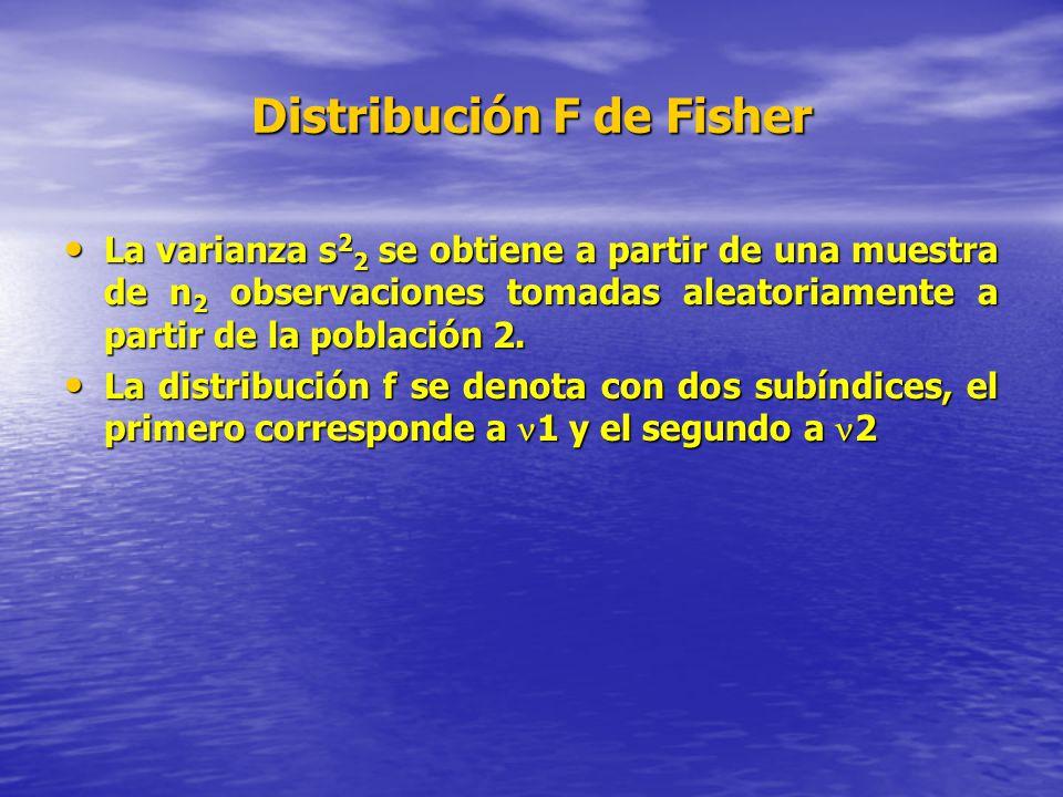 Distribución F de Fisher La varianza s 2 2 se obtiene a partir de una muestra de n 2 observaciones tomadas aleatoriamente a partir de la población 2.