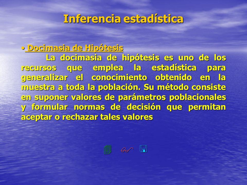 Inferencia estadística Docimasia de Hipótesis Docimasia de Hipótesis La docimasia de hipótesis es uno de los recursos que emplea la estadística para g