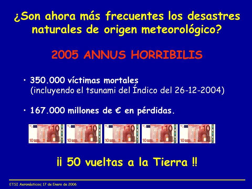 ETSI Aeronáuticos; 17 de Enero de 2006 ¿ Son ahora más frecuentes los desastres naturales de origen meteorológico? ¡¡ 50 vueltas a la Tierra !! 2005 A