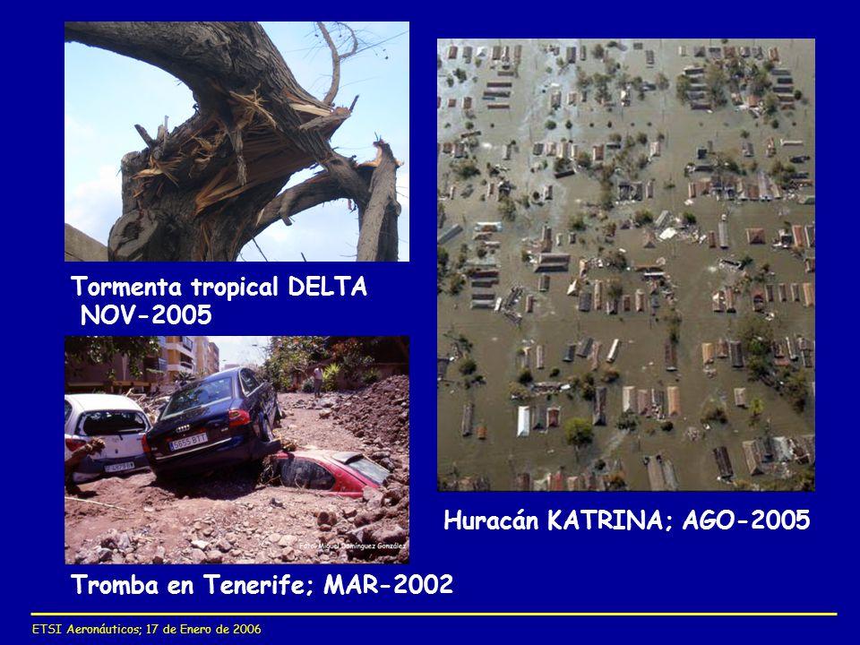 ETSI Aeronáuticos; 17 de Enero de 2006 Tormenta tropical DELTA NOV-2005 Huracán KATRINA; AGO-2005 Tromba en Tenerife; MAR-2002