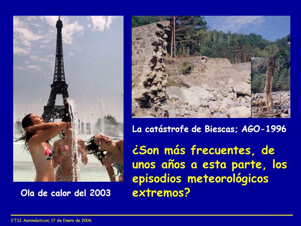 ETSI Aeronáuticos; 17 de Enero de 2006 ¿Son más frecuentes, de unos años a esta parte, los episodios meteorológicos extremos? Ola de calor del 2003 La