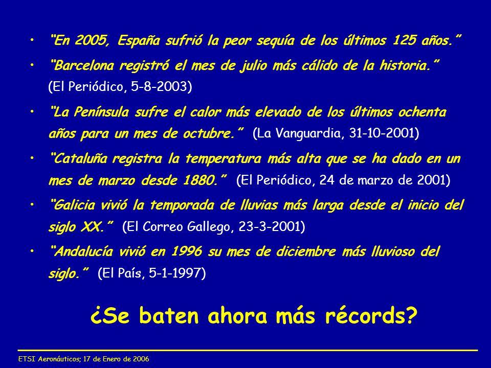 ETSI Aeronáuticos; 17 de Enero de 2006 ¿Se baten ahora más récords? En 2005, España sufrió la peor sequía de los últimos 125 años. Barcelona registró