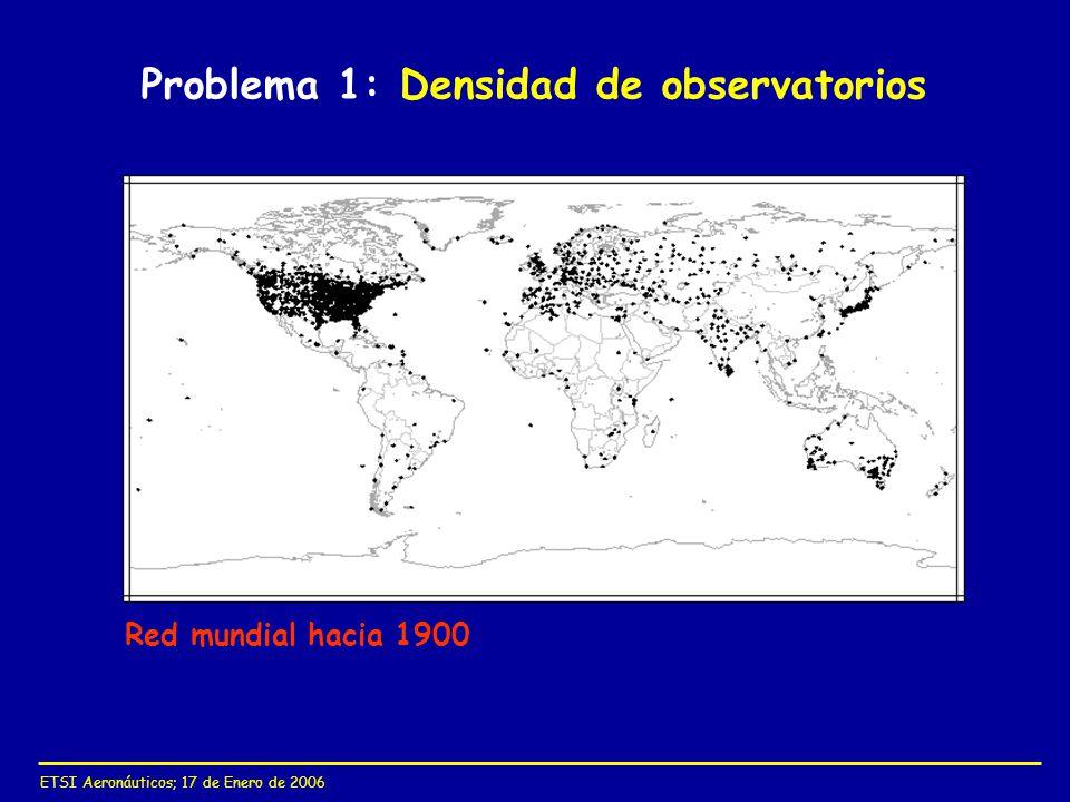 ETSI Aeronáuticos; 17 de Enero de 2006 Problema 1: Densidad de observatorios Red mundial hacia 1900
