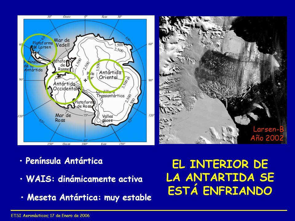 WAIS: dinámicamente activa Meseta Antártica: muy estable EL INTERIOR DE LA ANTARTIDA SE ESTÁ ENFRIANDO Península Antártica Larsen-B Año 2002