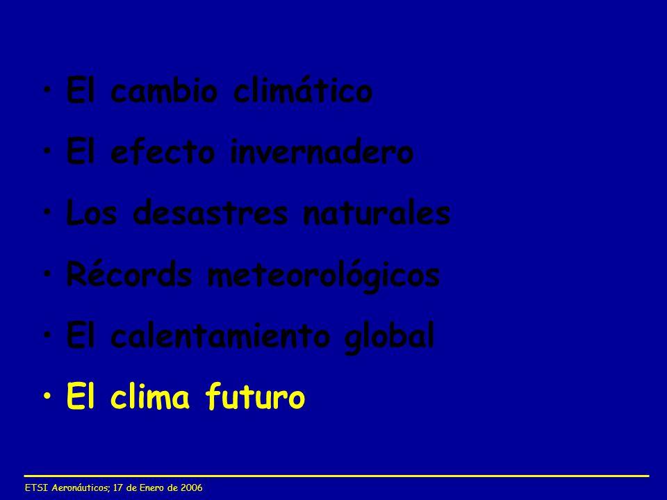 El cambio climático El efecto invernadero Los desastres naturales Récords meteorológicos El calentamiento global El clima futuro