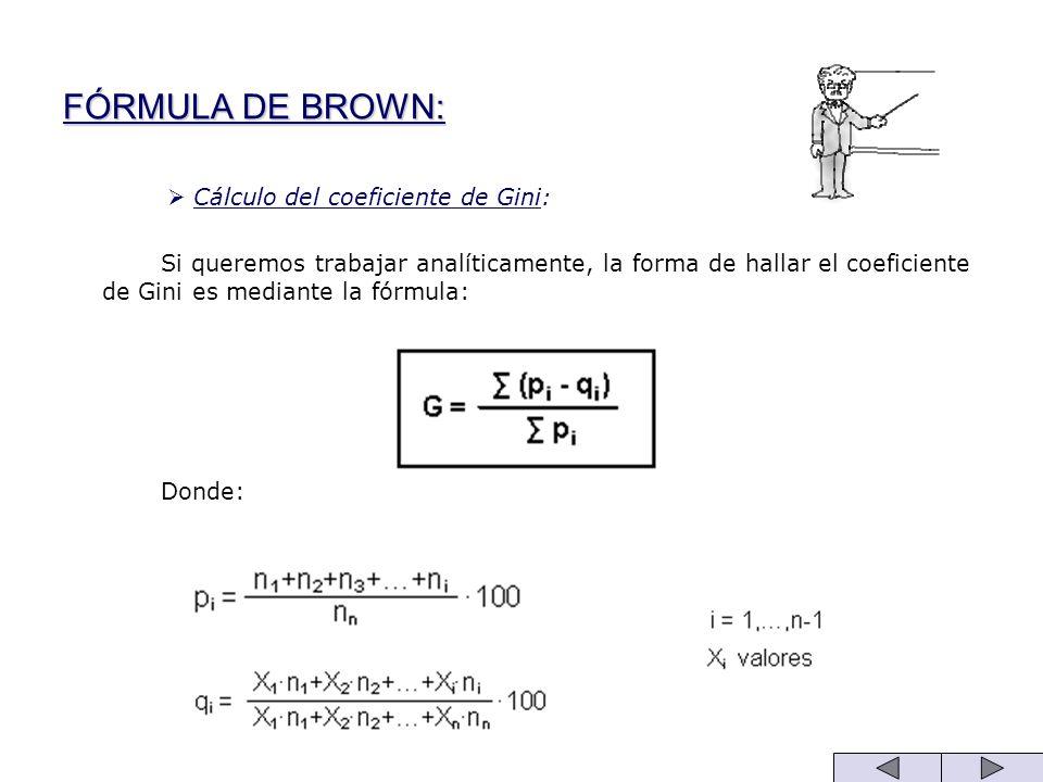 FÓRMULA DE BROWN: Cálculo del coeficiente de Gini: Si queremos trabajar analíticamente, la forma de hallar el coeficiente de Gini es mediante la fórmu