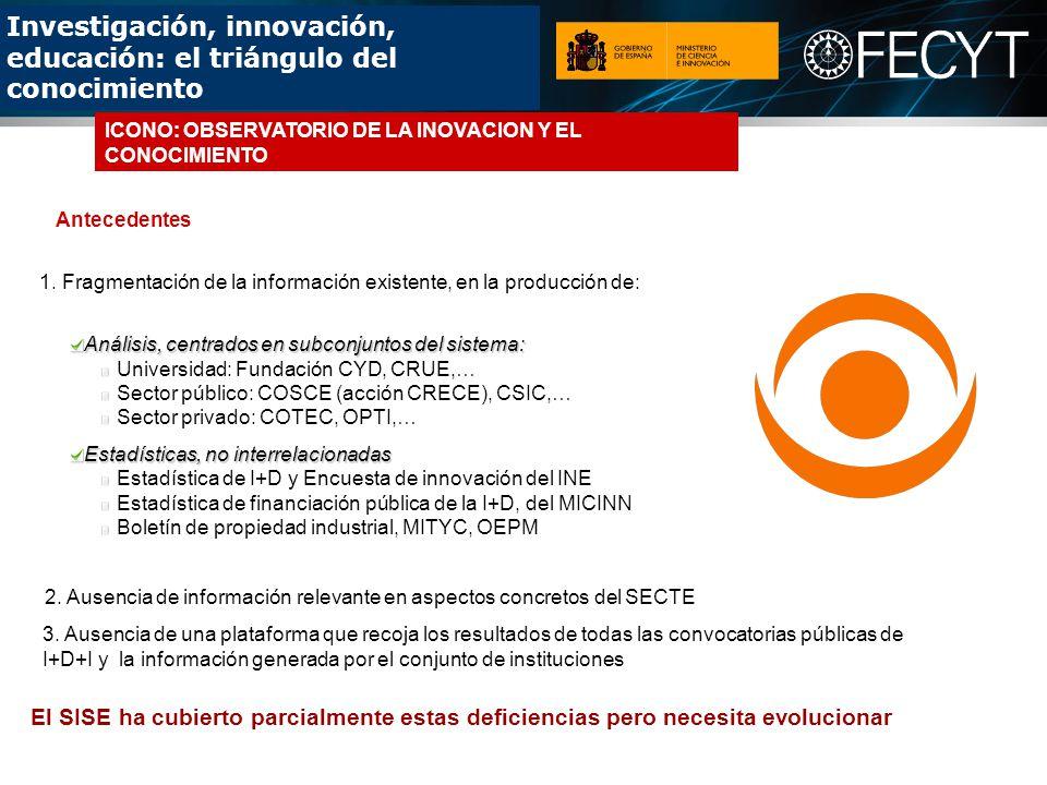 Investigación, innovación, educación: el triángulo del conocimiento Análisis, centrados en subconjuntos del sistema: Universidad: Fundación CYD, CRUE,… Sector público: COSCE (acción CRECE), CSIC,… Sector privado: COTEC, OPTI,… Estadísticas, no interrelacionadas Estadística de I+D y Encuesta de innovación del INE Estadística de financiación pública de la I+D, del MICINN Boletín de propiedad industrial, MITYC, OEPM 2.