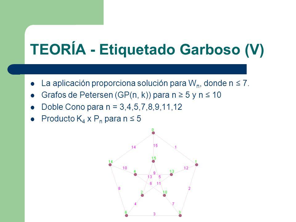 TEORÍA - Etiquetado Garboso (V) La aplicación proporciona solución para W n, donde n 7. Grafos de Petersen (GP(n, k)) para n 5 y n 10 Doble Cono para