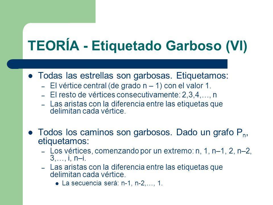 TEORÍA - Etiquetado Garboso (VI) Todas las estrellas son garbosas. Etiquetamos: – El vértice central (de grado n – 1) con el valor 1. – El resto de vé