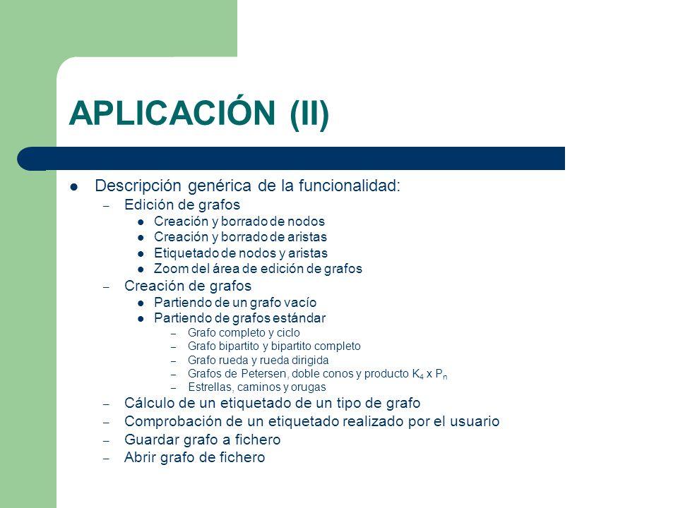 APLICACIÓN (II) Descripción genérica de la funcionalidad: – Edición de grafos Creación y borrado de nodos Creación y borrado de aristas Etiquetado de