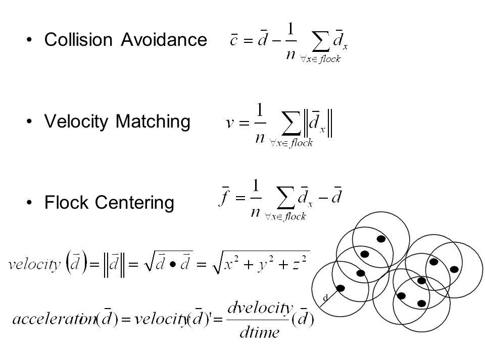 Collision Avoidance Velocity Matching Flock Centering