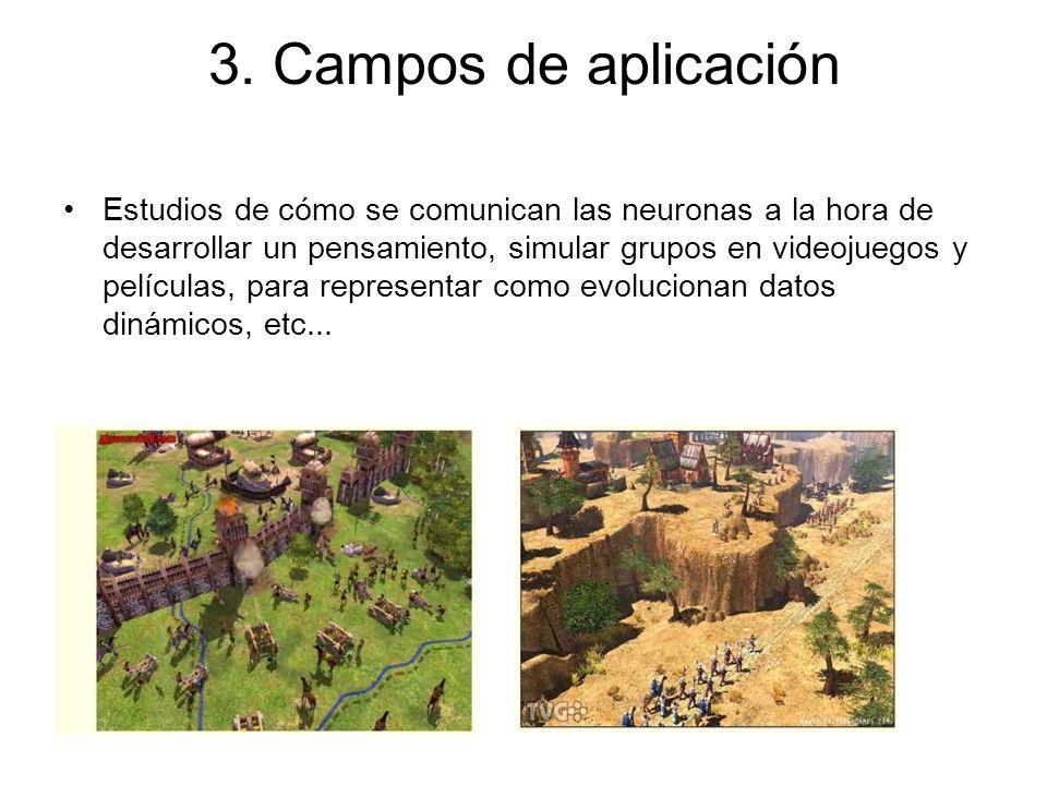 3. Campos de aplicación Estudios de cómo se comunican las neuronas a la hora de desarrollar un pensamiento, simular grupos en videojuegos y películas,
