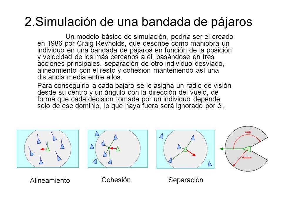 Un modelo básico de simulación, podría ser el creado en 1986 por Craig Reynolds, que describe como maniobra un individuo en una bandada de pájaros en función de la posición y velocidad de los más cercanos a él, basándose en tres acciones principales, separación de otro individuo desviado, alineamiento con el resto y cohesión manteniendo así una distancia media entre ellos.