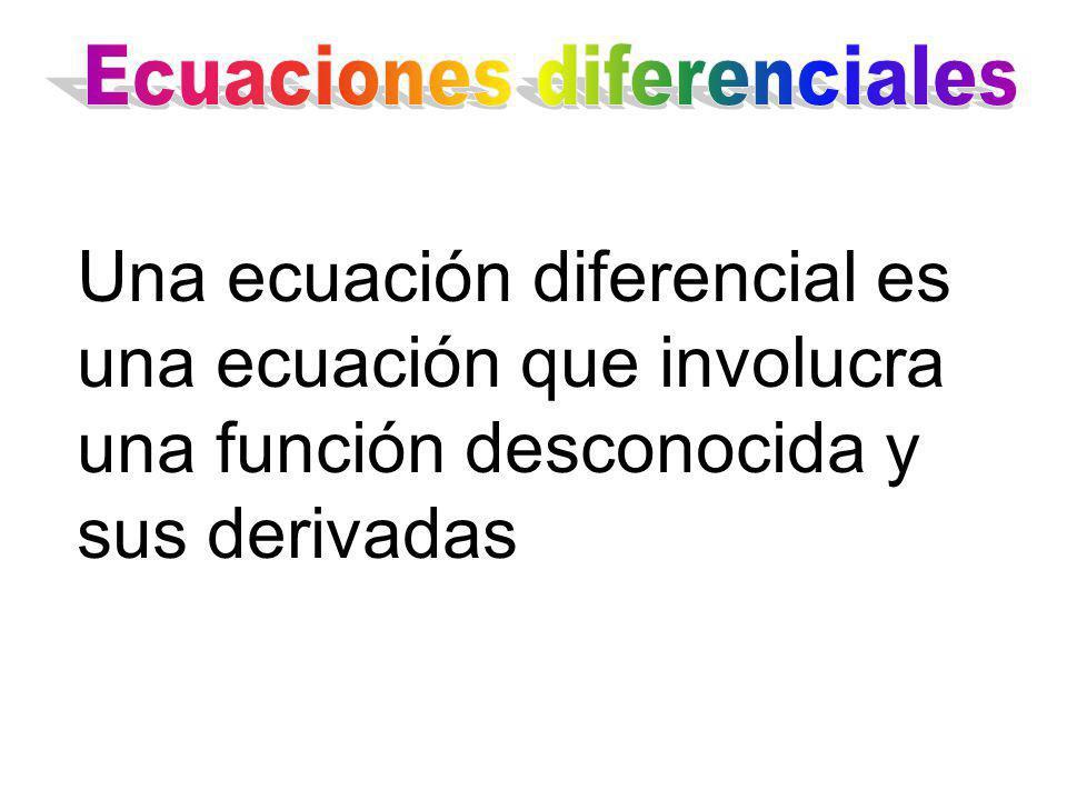Una ecuación diferencial es una ecuación que involucra una función desconocida y sus derivadas