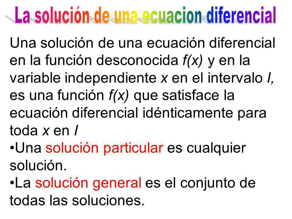 Una solución de una ecuación diferencial en la función desconocida f(x) y en la variable independiente x en el intervalo I, es una función f(x) que sa