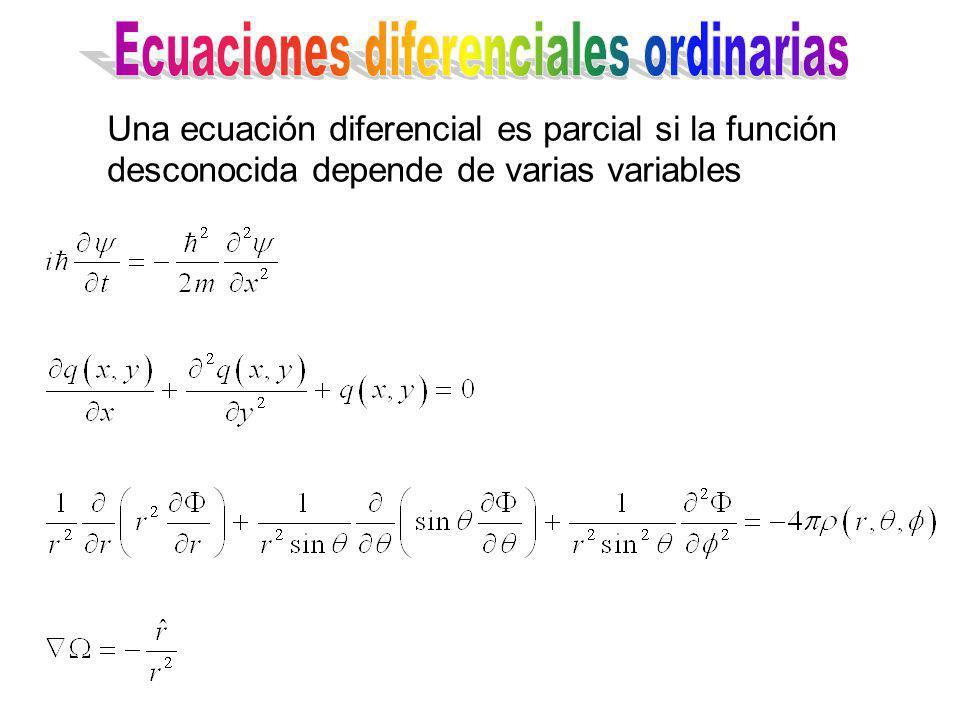 Una ecuación diferencial es parcial si la función desconocida depende de varias variables