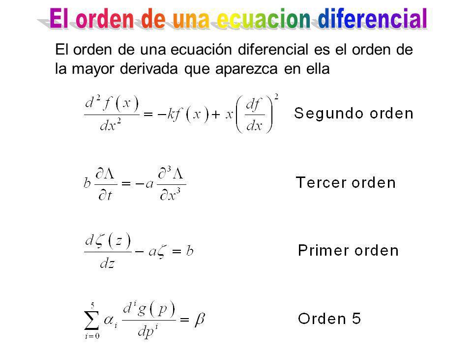 El orden de una ecuación diferencial es el orden de la mayor derivada que aparezca en ella