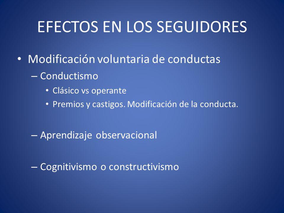 EFECTOS EN LOS SEGUIDORES Modificación voluntaria de conductas – Conductismo Clásico vs operante Premios y castigos. Modificación de la conducta. – Ap