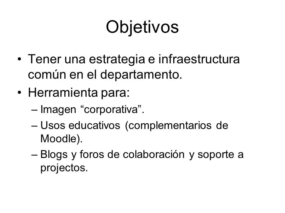 Objetivos Tener una estrategia e infraestructura común en el departamento.