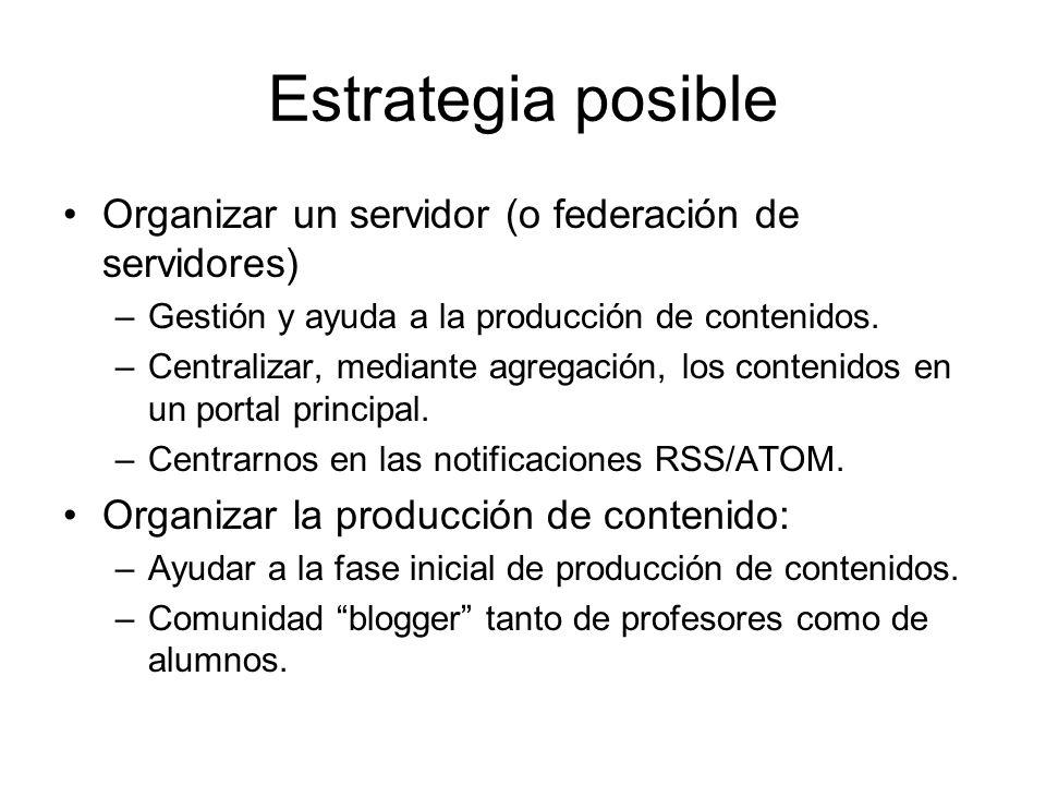 Estrategia posible Organizar un servidor (o federación de servidores) –Gestión y ayuda a la producción de contenidos.