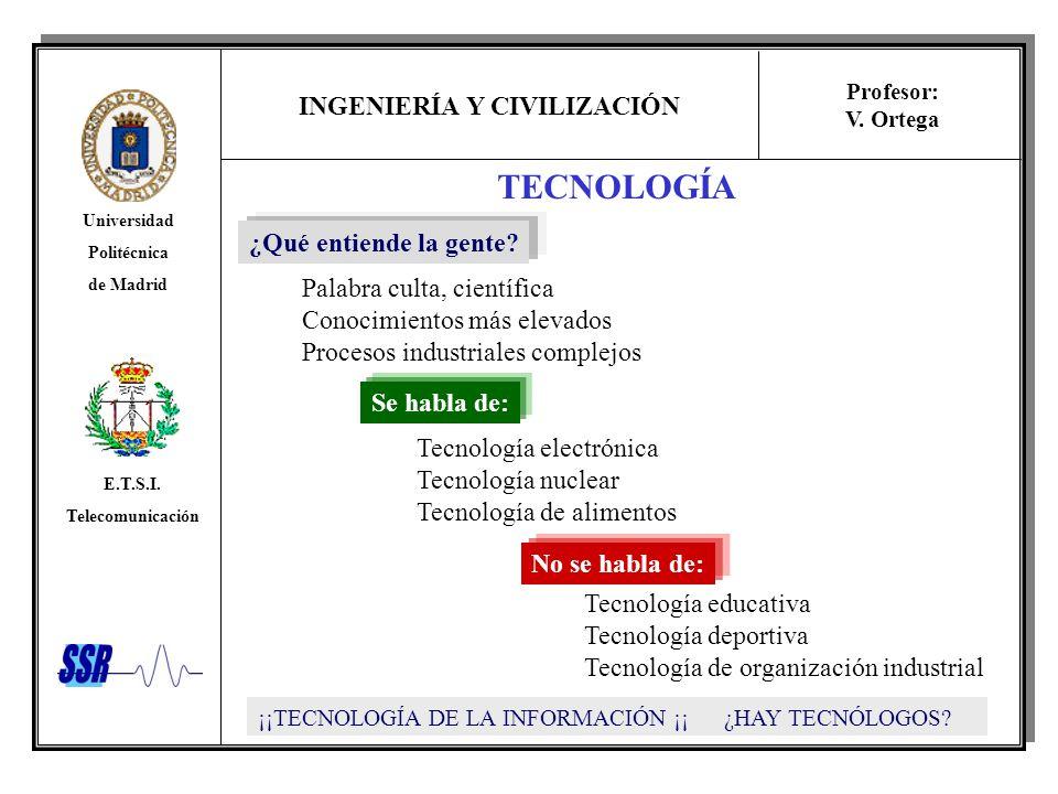 INGENIERÍA Y CIVILIZACIÓN Universidad Politécnica de Madrid E.T.S.I. Telecomunicación Profesor: V. Ortega TECNOLOGÍA ¿Qué entiende la gente? Palabra c