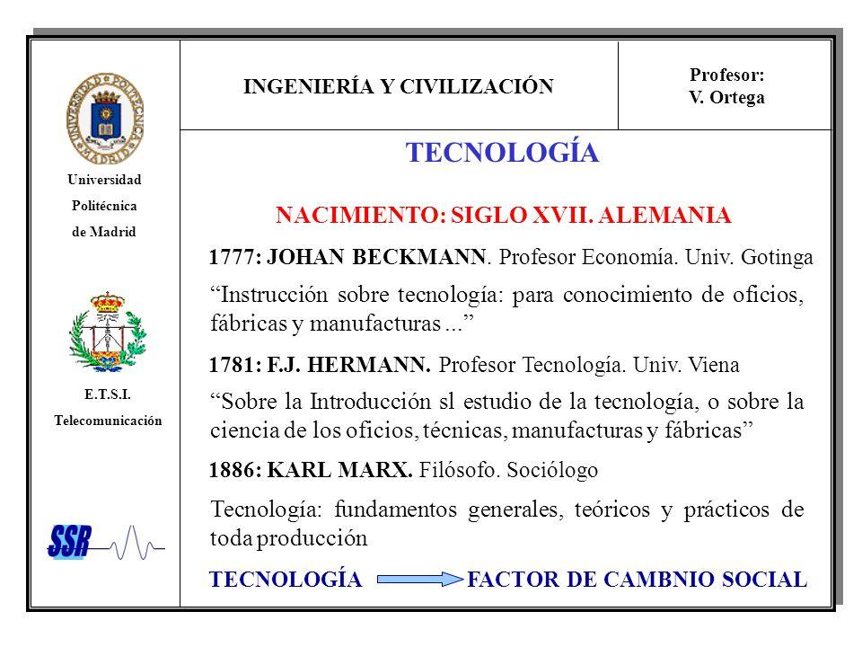 INGENIERÍA Y CIVILIZACIÓN Universidad Politécnica de Madrid E.T.S.I. Telecomunicación Profesor: V. Ortega NACIMIENTO: SIGLO XVII. ALEMANIA 1777: JOHAN