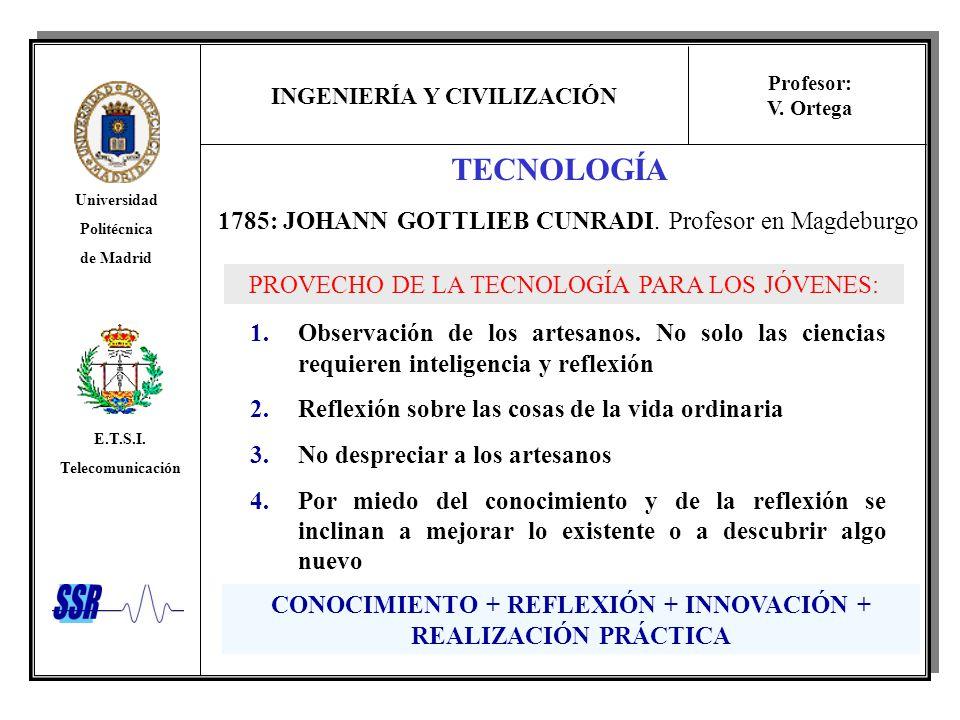INGENIERÍA Y CIVILIZACIÓN Universidad Politécnica de Madrid E.T.S.I. Telecomunicación Profesor: V. Ortega 1785: JOHANN GOTTLIEB CUNRADI. Profesor en M