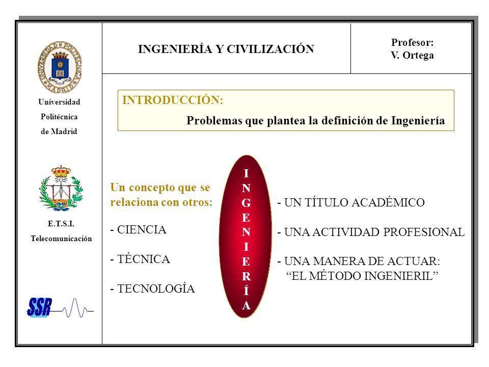 INGENIERÍA Y CIVILIZACIÓN Universidad Politécnica de Madrid E.T.S.I. Telecomunicación Profesor: V. Ortega Un concepto que se relaciona con otros: - CI