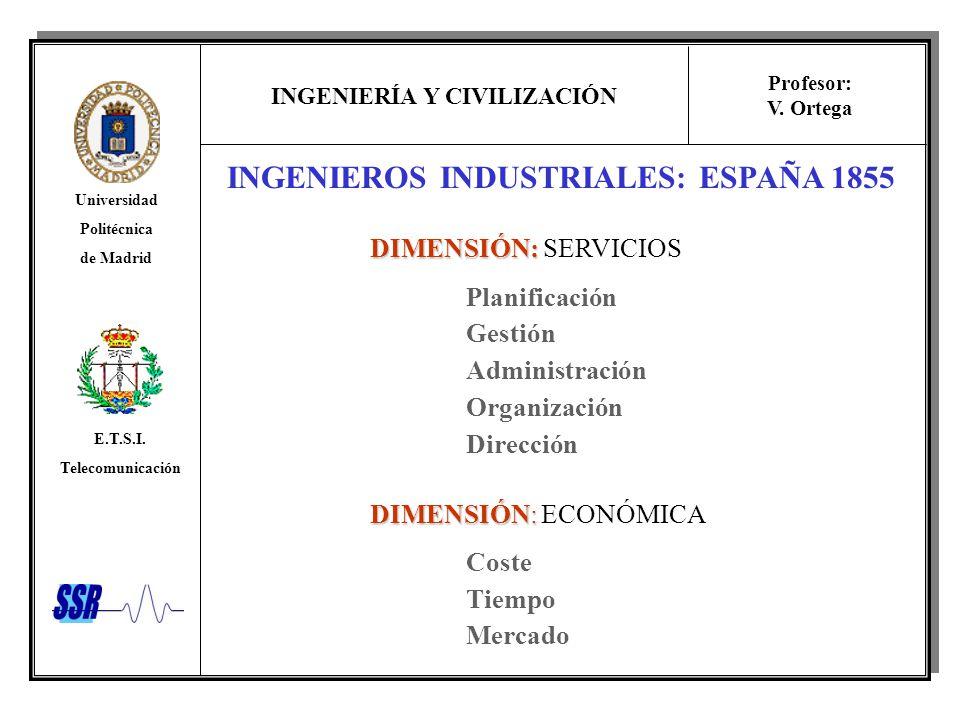 INGENIERÍA Y CIVILIZACIÓN Universidad Politécnica de Madrid E.T.S.I. Telecomunicación Profesor: V. Ortega INGENIEROS INDUSTRIALES: ESPAÑA 1855 DIMENSI