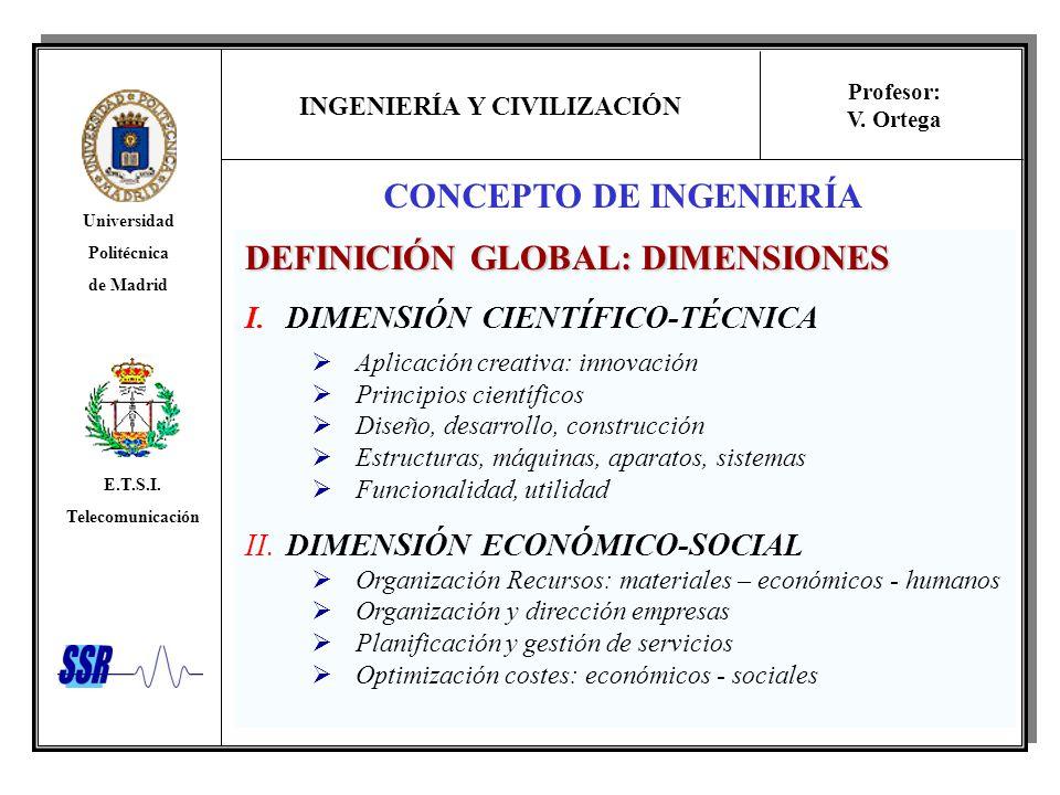 INGENIERÍA Y CIVILIZACIÓN Universidad Politécnica de Madrid E.T.S.I. Telecomunicación Profesor: V. Ortega CONCEPTO DE INGENIERÍA DEFINICIÓN GLOBAL: DI
