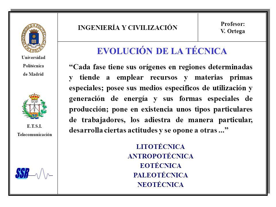 INGENIERÍA Y CIVILIZACIÓN Universidad Politécnica de Madrid E.T.S.I. Telecomunicación Profesor: V. Ortega EVOLUCIÓN DE LA TÉCNICA Cada fase tiene sus