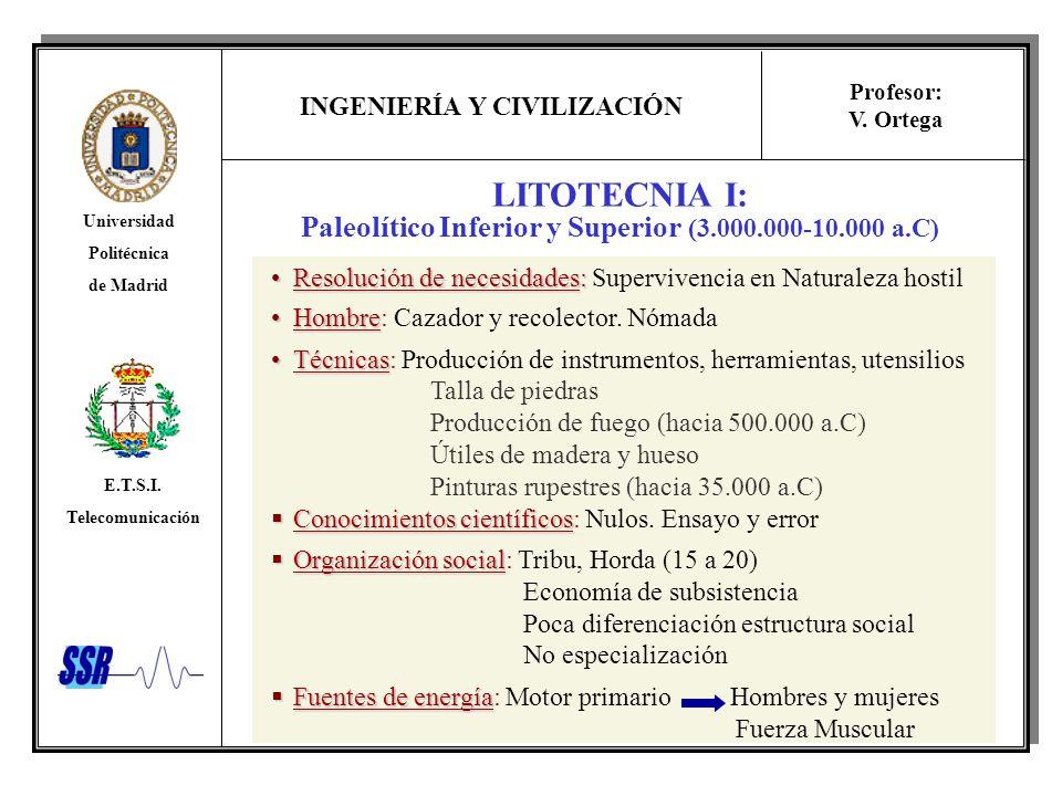 INGENIERÍA Y CIVILIZACIÓN Universidad Politécnica de Madrid E.T.S.I. Telecomunicación Profesor: V. Ortega LITOTECNIA I: Paleolítico Inferior y Superio