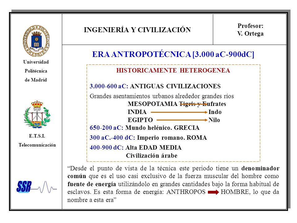 INGENIERÍA Y CIVILIZACIÓN Universidad Politécnica de Madrid E.T.S.I. Telecomunicación Profesor: V. Ortega ERA ANTROPOTÉCNICA [3.000 aC-900dC] Desde el