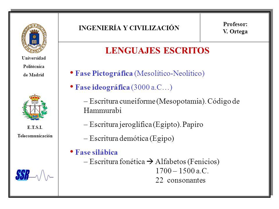 INGENIERÍA Y CIVILIZACIÓN Universidad Politécnica de Madrid E.T.S.I. Telecomunicación Profesor: V. Ortega LENGUAJES ESCRITOS Fase Pictográfica (Mesolí
