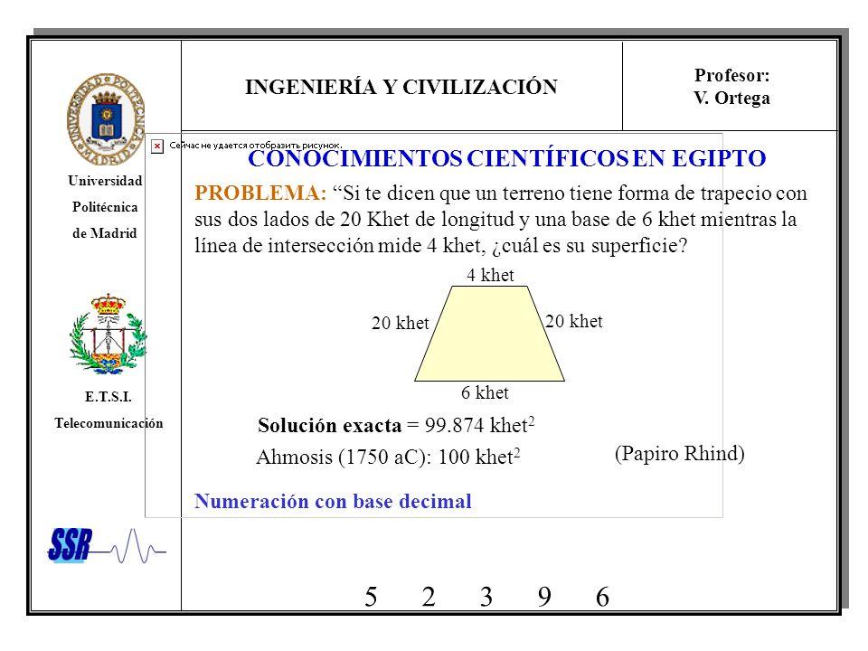 INGENIERÍA Y CIVILIZACIÓN Universidad Politécnica de Madrid E.T.S.I. Telecomunicación Profesor: V. Ortega CONOCIMIENTOS CIENTÍFICOS EN EGIPTO PROBLEMA