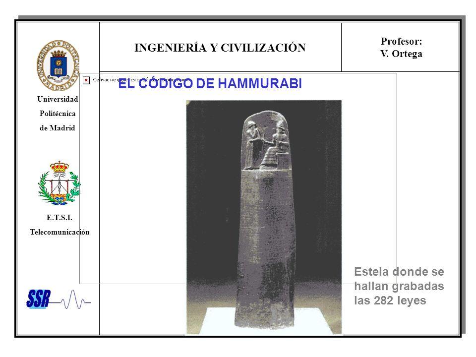 INGENIERÍA Y CIVILIZACIÓN Universidad Politécnica de Madrid E.T.S.I. Telecomunicación Profesor: V. Ortega EL CÓDIGO DE HAMMURABI Estela donde se halla