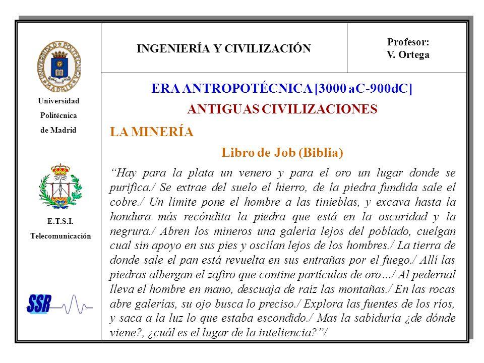 INGENIERÍA Y CIVILIZACIÓN Universidad Politécnica de Madrid E.T.S.I. Telecomunicación Profesor: V. Ortega LA MINERÍA Libro de Job (Biblia) Hay para la