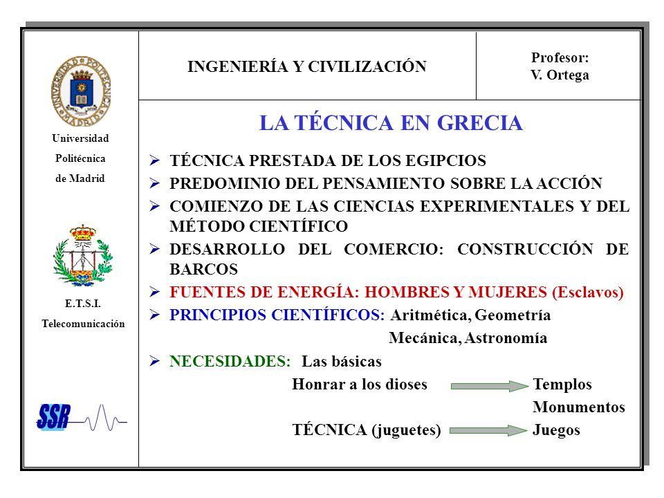 INGENIERÍA Y CIVILIZACIÓN Universidad Politécnica de Madrid E.T.S.I. Telecomunicación Profesor: V. Ortega LA TÉCNICA EN GRECIA TÉCNICA PRESTADA DE LOS