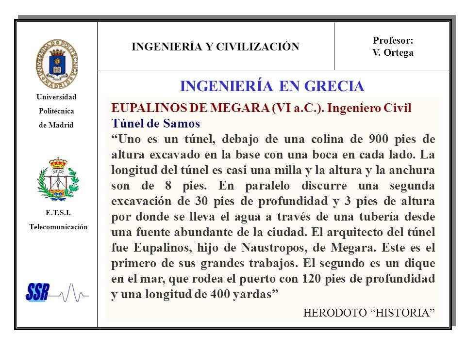 INGENIERÍA Y CIVILIZACIÓN Universidad Politécnica de Madrid E.T.S.I. Telecomunicación Profesor: V. Ortega INGENIERÍA EN GRECIA EUPALINOS DE MEGARA (VI