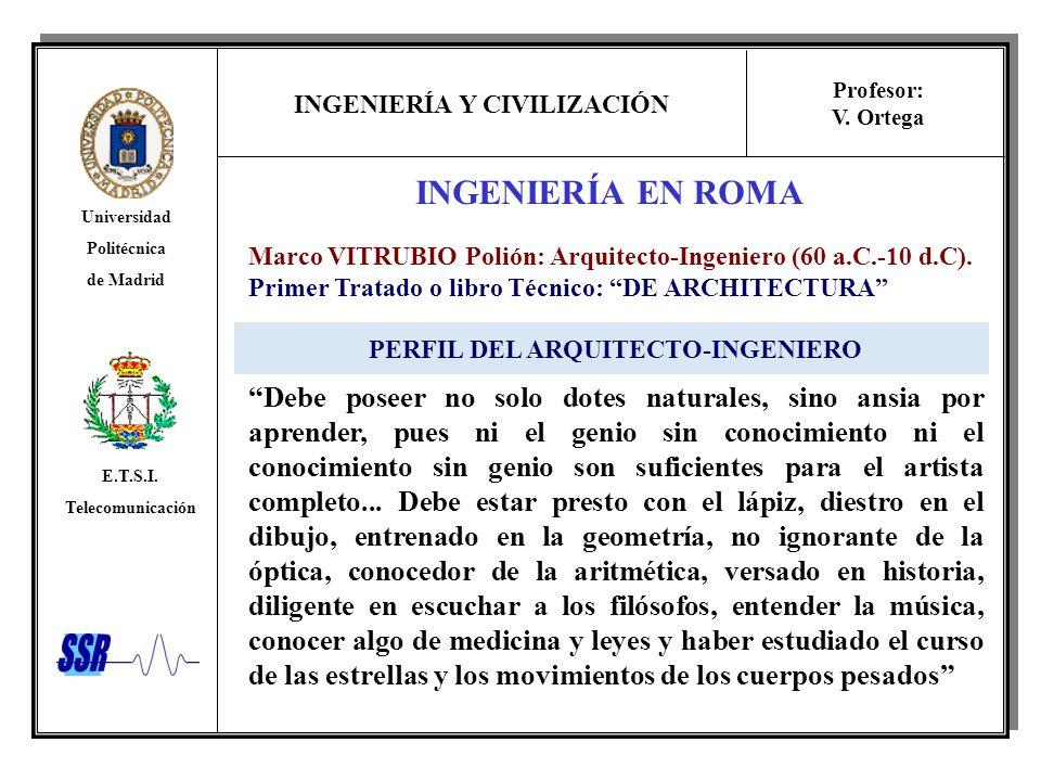 INGENIERÍA Y CIVILIZACIÓN Universidad Politécnica de Madrid E.T.S.I. Telecomunicación Profesor: V. Ortega INGENIERÍA EN ROMA Marco VITRUBIO Polión: Ar