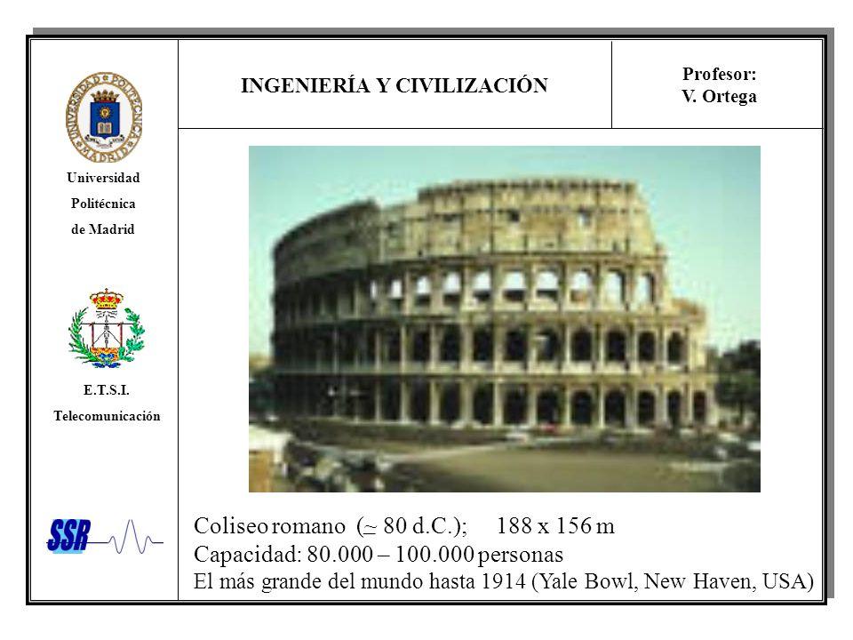 INGENIERÍA Y CIVILIZACIÓN Universidad Politécnica de Madrid E.T.S.I. Telecomunicación Profesor: V. Ortega Coliseo romano (~ 80 d.C.); 188 x 156 m Capa