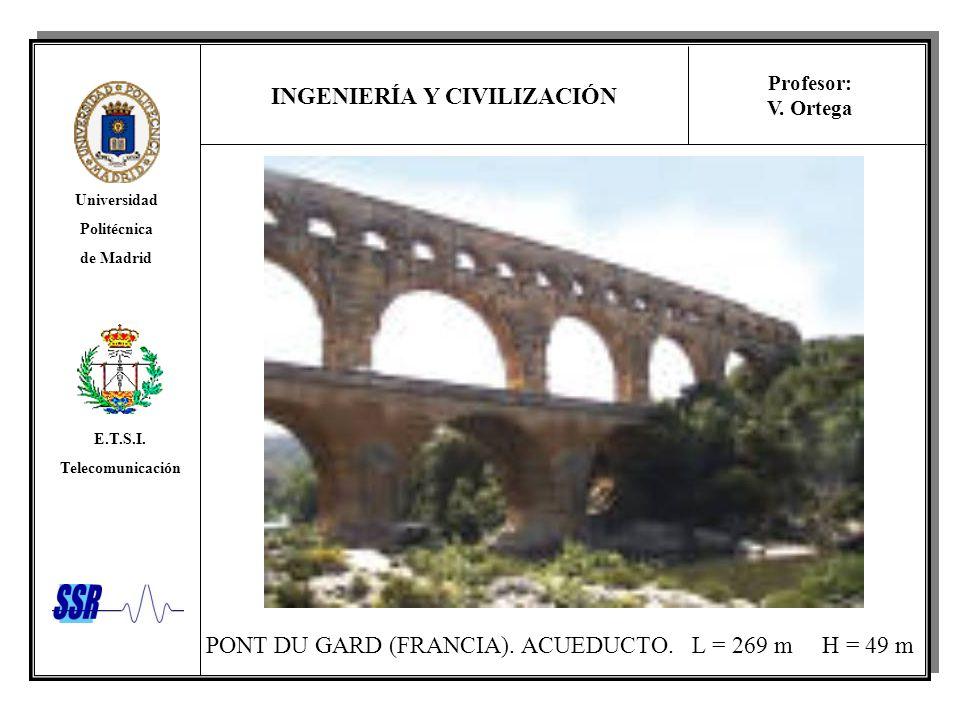 INGENIERÍA Y CIVILIZACIÓN Universidad Politécnica de Madrid E.T.S.I. Telecomunicación Profesor: V. Ortega PONT DU GARD (FRANCIA). ACUEDUCTO. L = 269 m