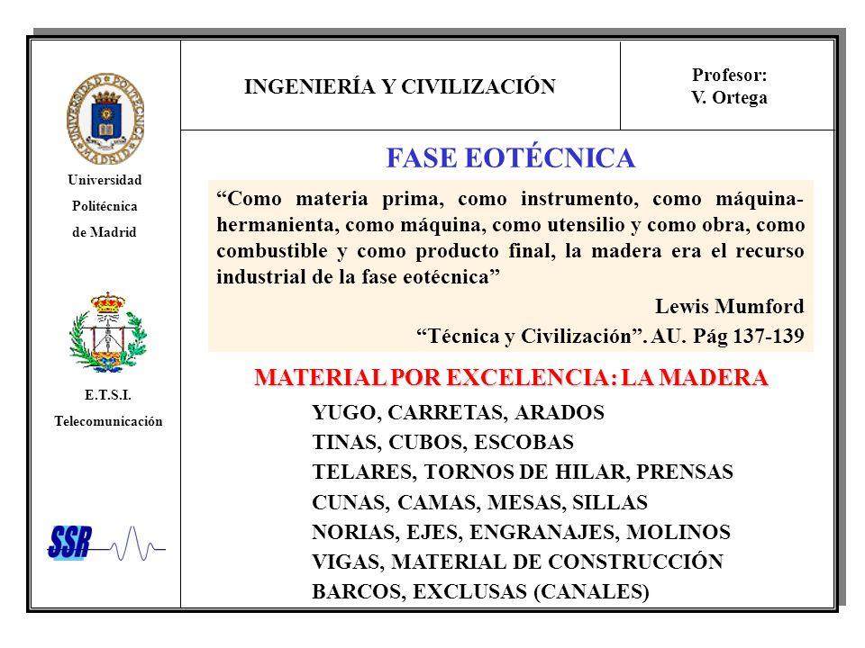 INGENIERÍA Y CIVILIZACIÓN Universidad Politécnica de Madrid E.T.S.I. Telecomunicación Profesor: V. Ortega FASE EOTÉCNICA Como materia prima, como inst