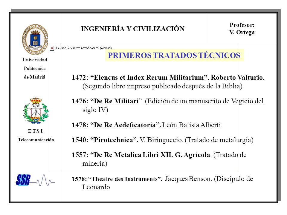 INGENIERÍA Y CIVILIZACIÓN Universidad Politécnica de Madrid E.T.S.I. Telecomunicación Profesor: V. Ortega PRIMEROS TRATADOS TÉCNICOS 1472: Elencus et