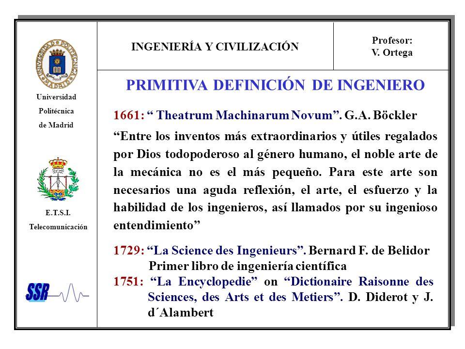 INGENIERÍA Y CIVILIZACIÓN Universidad Politécnica de Madrid E.T.S.I. Telecomunicación Profesor: V. Ortega PRIMITIVA DEFINICIÓN DE INGENIERO 1661: Thea