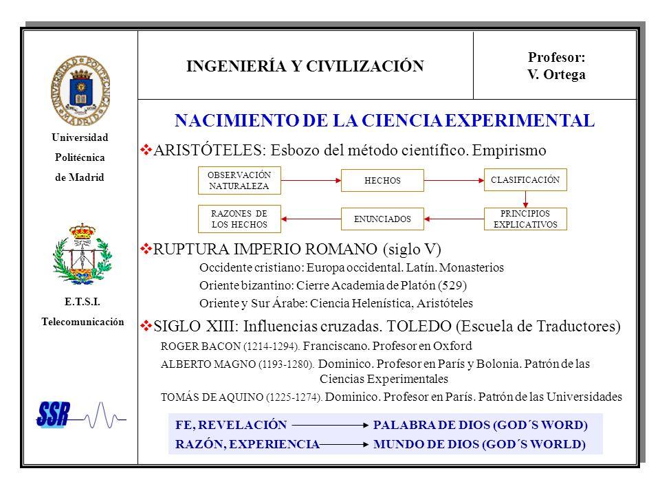 INGENIERÍA Y CIVILIZACIÓN Universidad Politécnica de Madrid E.T.S.I. Telecomunicación Profesor: V. Ortega NACIMIENTO DE LA CIENCIA EXPERIMENTAL ARISTÓ