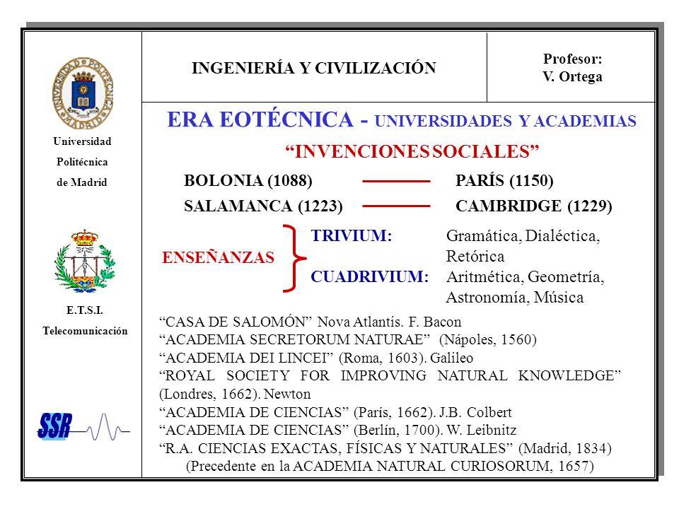 INGENIERÍA Y CIVILIZACIÓN Universidad Politécnica de Madrid E.T.S.I. Telecomunicación Profesor: V. Ortega ERA EOTÉCNICA - UNIVERSIDADES Y ACADEMIAS IN
