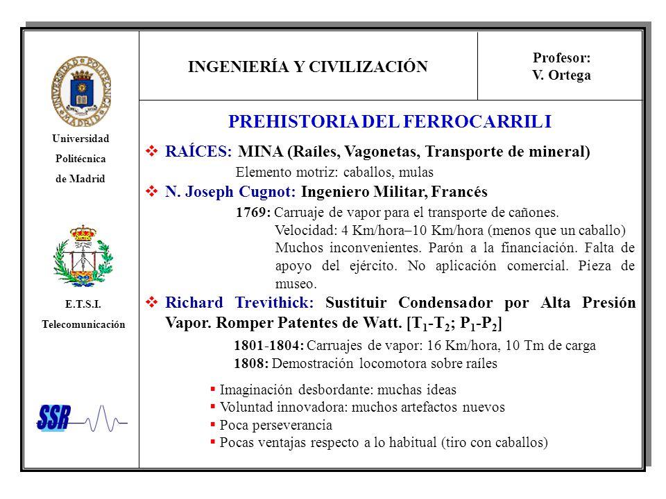 INGENIERÍA Y CIVILIZACIÓN Universidad Politécnica de Madrid E.T.S.I. Telecomunicación Profesor: V. Ortega PREHISTORIA DEL FERROCARRIL I RAÍCES: MINA (