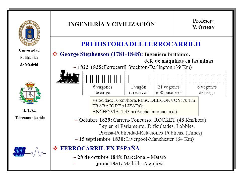 INGENIERÍA Y CIVILIZACIÓN Universidad Politécnica de Madrid E.T.S.I. Telecomunicación Profesor: V. Ortega PREHISTORIA DEL FERROCARRIL II George Stephe
